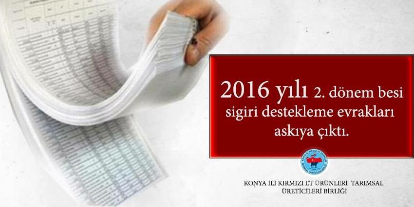 2016 YILI 2. DÖNEM BESİ SIĞIRI DESTEKLEMELERİ ASKIDA